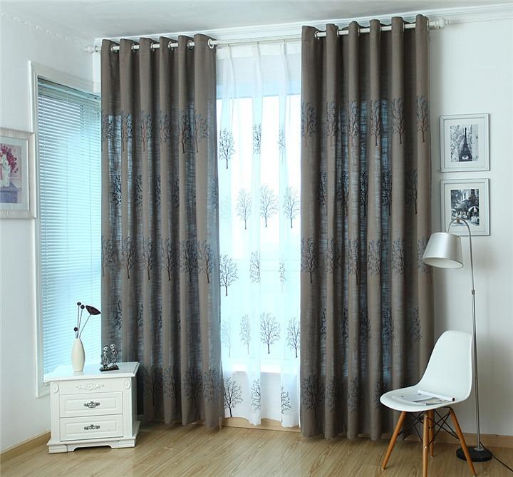 5c7667ac60ee1 Nuevo Algodón puro tela de lino bordado flores salón dormitorio cortinas
