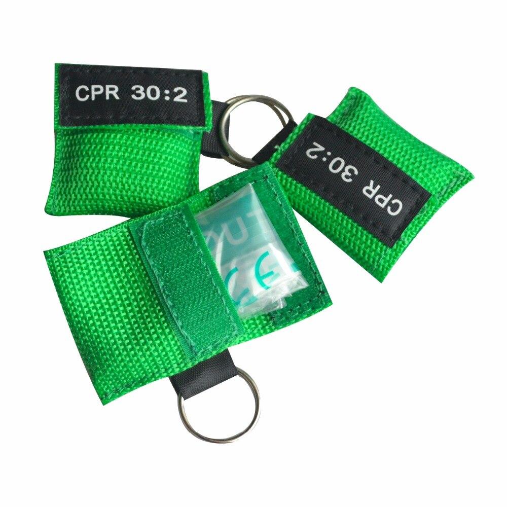 En gros 850 pièces Portable CPR masque premiers secours visage bouclier vanne unidirectionnelle avec porte-clés pochette verte pour secours d'urgence offre spéciale