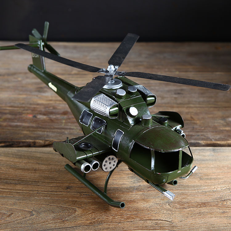 Retro Iron Helicopter Model Vintage Aircraft Model Photography Props Antique Ornaments Airplane Figurines Metal Plane Home Decor