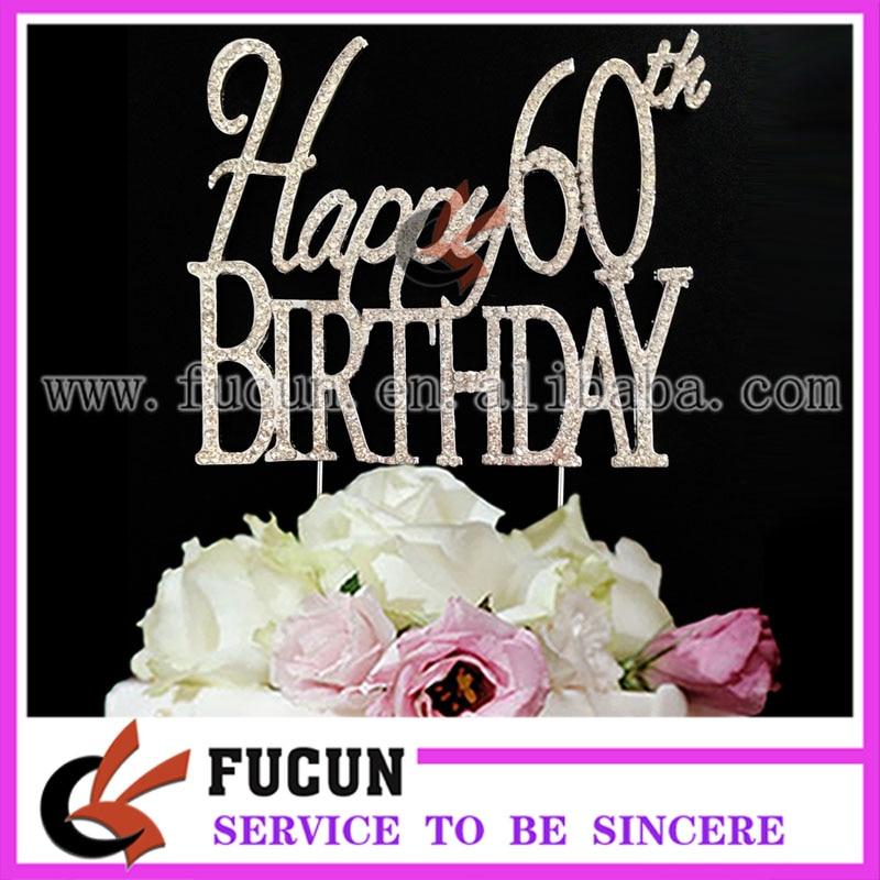 10 Pieces Lot Rhinestone Happy 60th Birthday Cake Topper