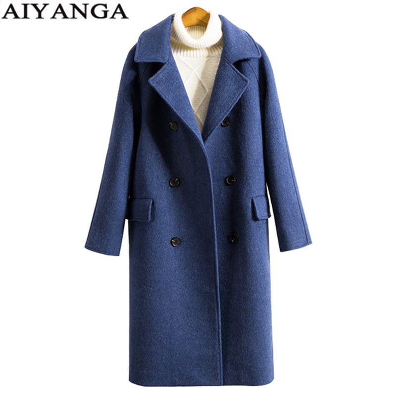Long Cashmere Coat Women 2018 Winter Double Breasted Turn down Collar Warm Plus Size Overcoat Female