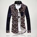 2016 new fashion men floral shirts long sleeve casual slim stylish mens dress Camisa Masculina dress shirt