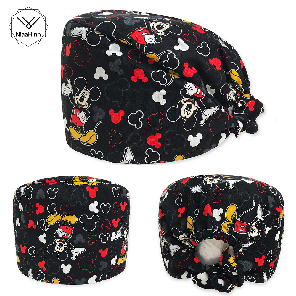 Pet Hospital Dentistry Beauty Cap Scrub Caps For Women& Men Hospital Medical Hats Print Cat Tieback Elastic Section Surgical Cap