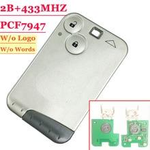 (1 個) 433 mhz pcf7947 チップ 2 ボタンリモートカードスマートキールノーラグナカードグレー刃