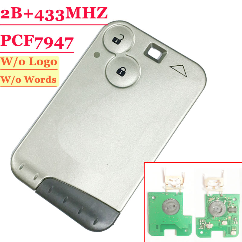 Clé intelligente à 2 boutons  433MHZ pcf7947, carte à distance pour carte Renault Laguna avec lame grise, carte intelligentecard cardcard with chipcard renault -