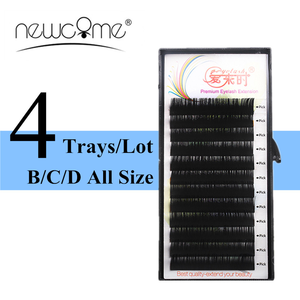 Wholesale 4 Trays Charming Eyelash Extensions Silk Lashes BCD Curl 8mm to 15mm False Eyelash Fake Eyelash Extensions Makeup Tool