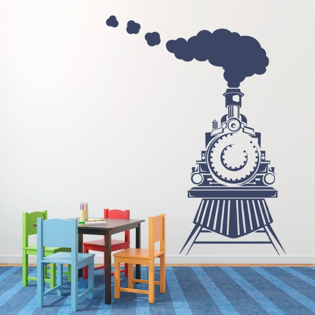 Beautiful Smoke On The Train Childrens Wall Art Nursery Decor Wall Stickers Train  Theme Boys Kindergarten Kids