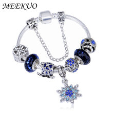 Meekuo Dropshipping Silver Color Charm Bracelets For Women Kids Crystal Christmas Beads Pandora Pulseras Jewelry