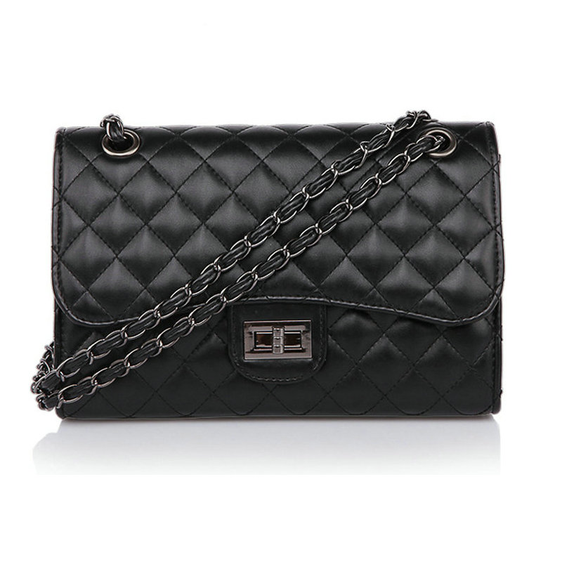Shoulder Handbag Lock-Bags Chain Classic Diamond-Pattern Small Black Vintage Cross-Body