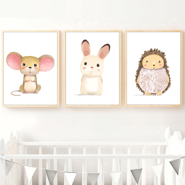 Cartoon Rabbit Mouse Squirrel Hedgehog Animals Nordic Posters 1
