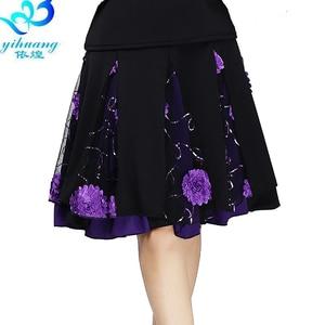 Image 5 - גבירותיי סלוניים ריקוד חצאית נשים מודרני סטנדרטי ואלס ביצועים חצאית שלב לטיני סלסה רומבה חגורת גומי #2625 1