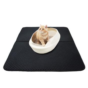 Cat Litter Mat Double-layer Waterproof High Elastic EVA Foldable Pet Cat Mat Scratch-resistant Litter Mat Catcher with Shovel 1