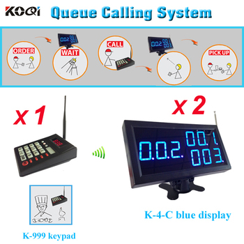 KFC Waiter paging call system wireless management equipment 1pc K-999 transmitter with 2pcs K-4-Cblue display receiver