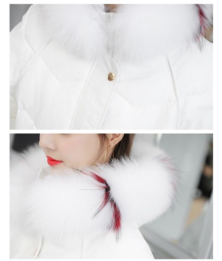 Le Parkas Manteau rembourré Épaissir Chaud white De 2018 Femmes Coton Fourrure Vers Col Black Mode Long Couleur À Veste Down Bas Capuchon D'hiver FvRURX
