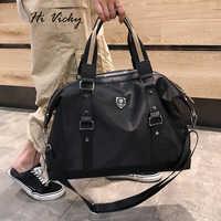 2019 Korean Version Weekend Black PU Leather Traveling Bag Ladies Handbag Big Travel Bag Women And Men's Foldable Duffle Bags