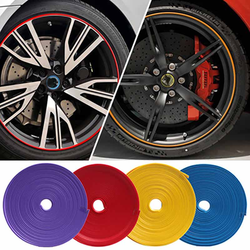 8 M Car Motorcycle Wheel Hub Tire Sticker Car Decorative Strip Wheel Rim Protection Care Covers Car Accessories Car Styling 16 strips motorcycle accessories 7 colors car styling decals 17 or 18 inch car stickers wheel rim sticker reflective tape