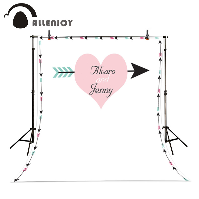 Allenjoy custom wedding background pink heart arrow white background photography backdrop  photobooth photocall Exclude bracket allenjoy diy wedding photography background romantic love wood board custom name date phrase backdrop photocall