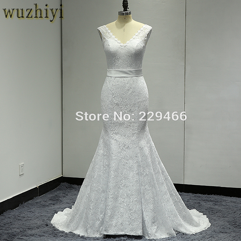 wuzhiyi Robe De Mariage Mermaid Wedding dress Custom made Bridal gowns Lace up Plus size wedding dress 2018 Vestide de Novias
