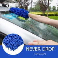 Car Wash Washing Glove Cleaning Tool Premium Microfiber Chenille Mitt Car Windows Cleaning Sponge Blue