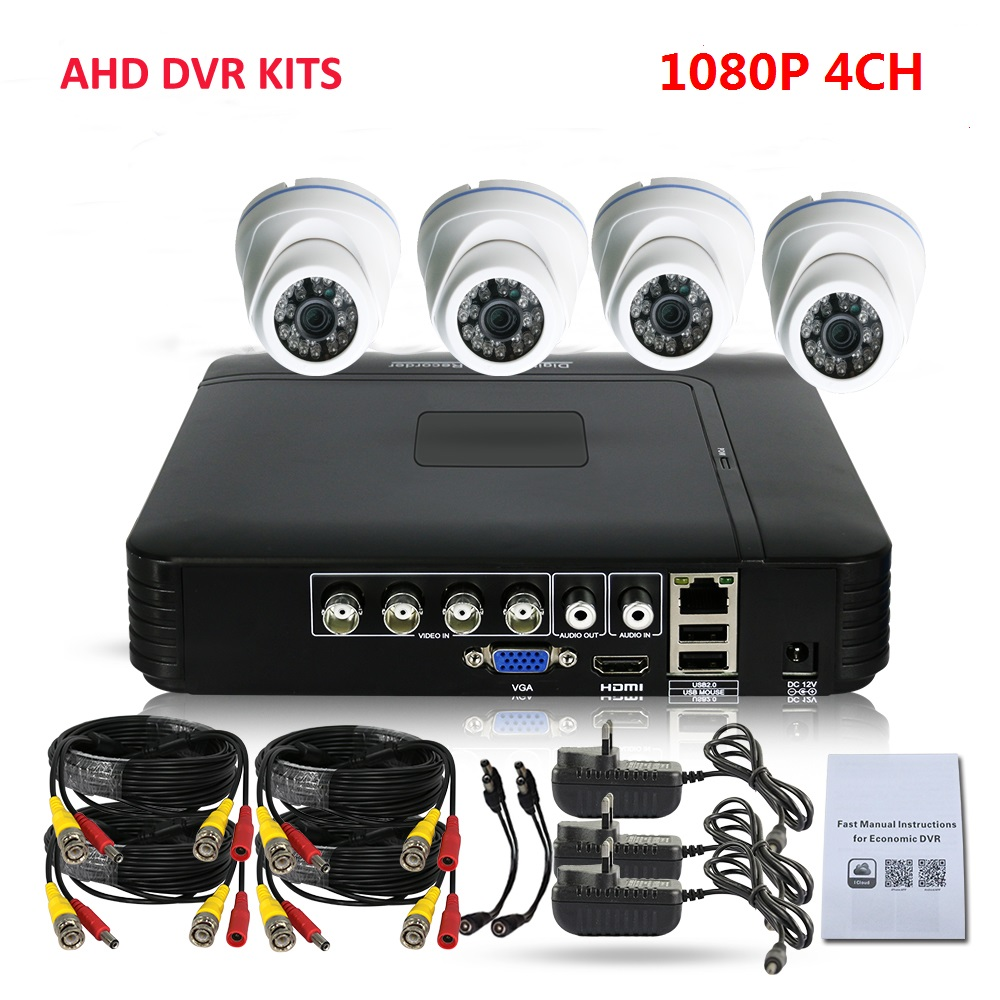 CCTV DVR Surveillance Kits HDMI AHD 1080P Kit 4 Channel DVR HVR NVR 3 in 1 Video Recorder Infrared Dome Camera Security NOV11