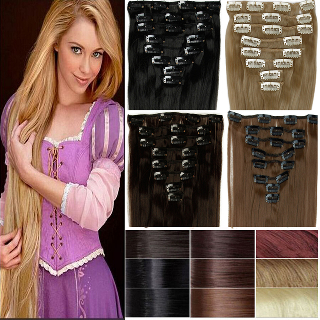 "SNOILITE 8Pcs/set 23"" 60CM Long Mega Synthetic Straight Full head Clip in Hair Extensions 18clips on"