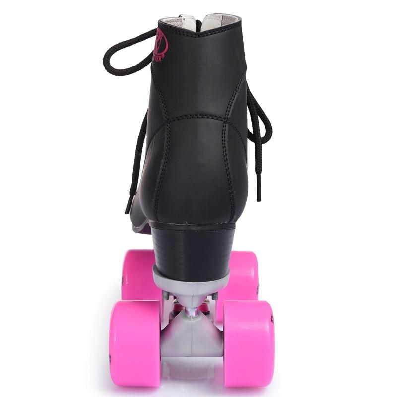 RENIAEVER double patins, 4 chaussure de patinage, roues rose noir chaussures, livraison gratuite - 6