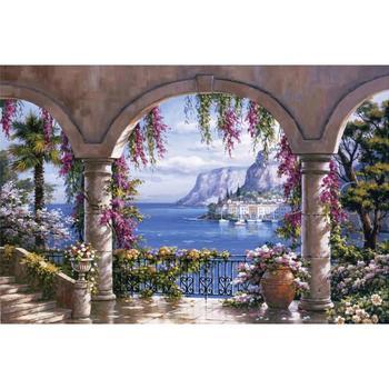 Красивая картина маслом итальянские пейзажи сон Ким цветочный патио современное искусство холст домашний декор ручной работы