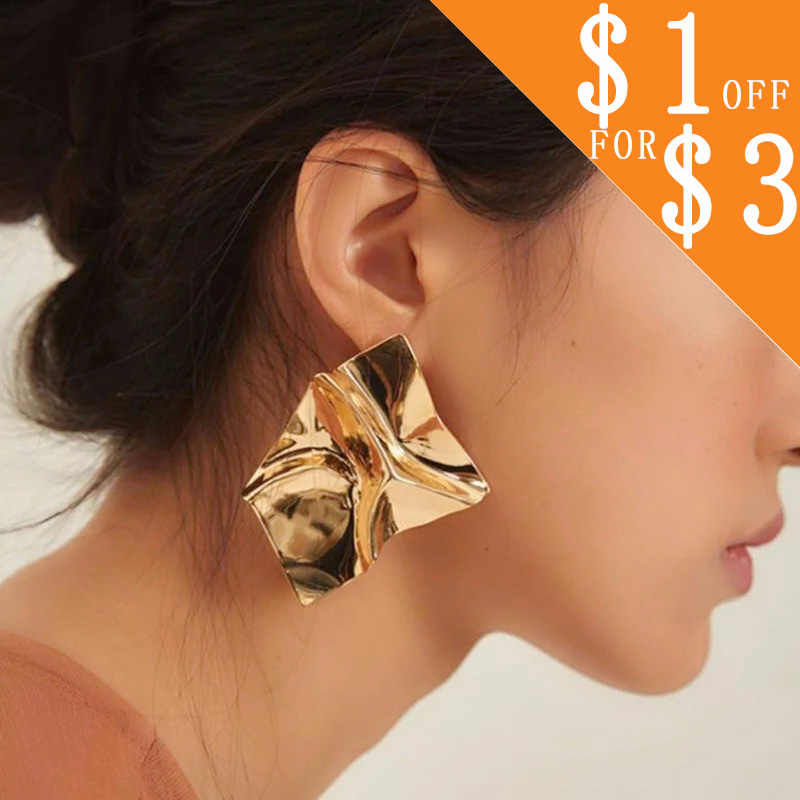 Trendy Irregular Sequins Metal Geometric Earrings for Women Gold Silver Color Simple Punk  Earrings Modern Art Jewelry CS16