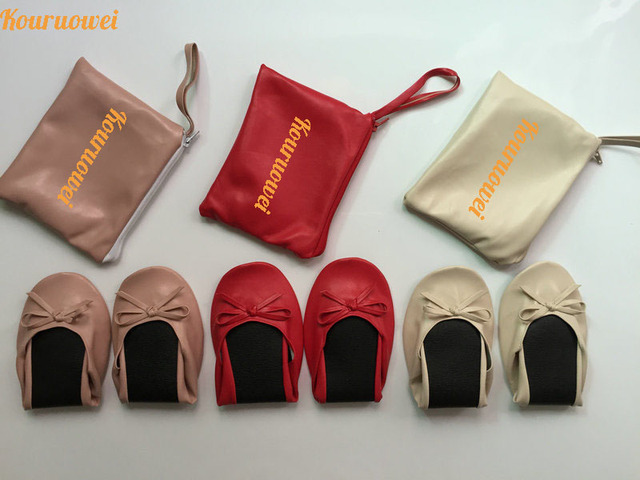 74bd9e775466 Wholesale Gold foldable ballerina with personal bag in cheap price for  wedding gift