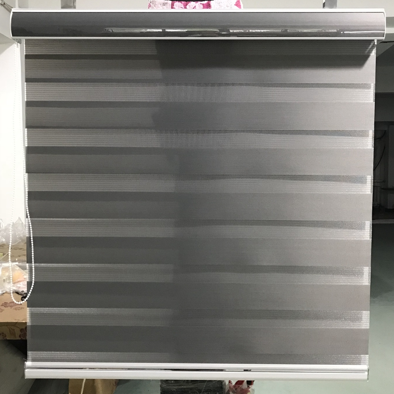 Horizontal Sheer Shade Blind Zebra Dual Roller Blinds Treatments Window Custom Cut to Size Dark Grey Curtains for Living Room