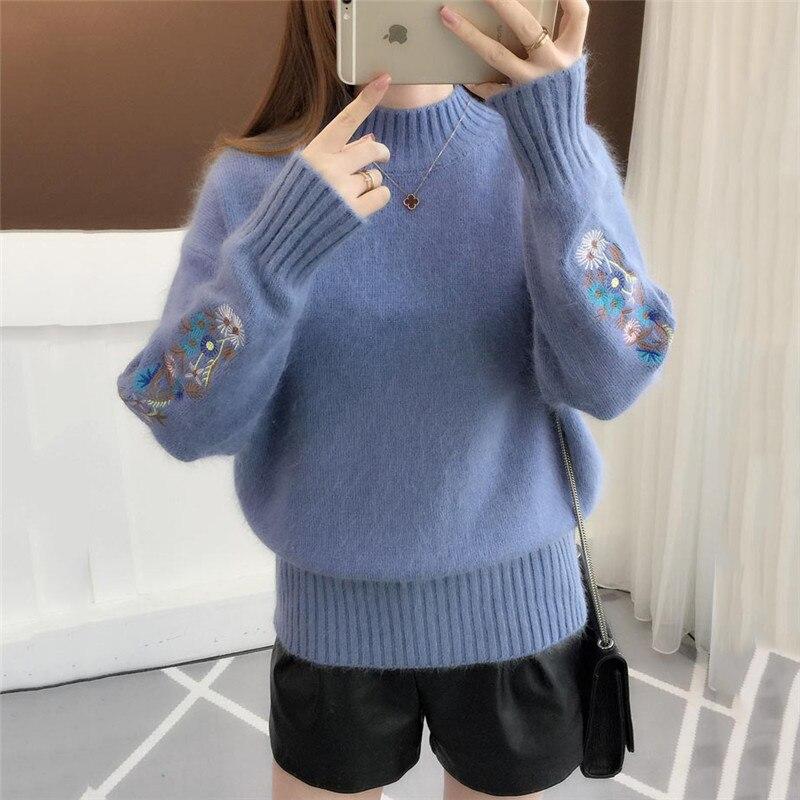 Женский Зимний вязаный пуловер теплый свитер с полувысоким воротником в