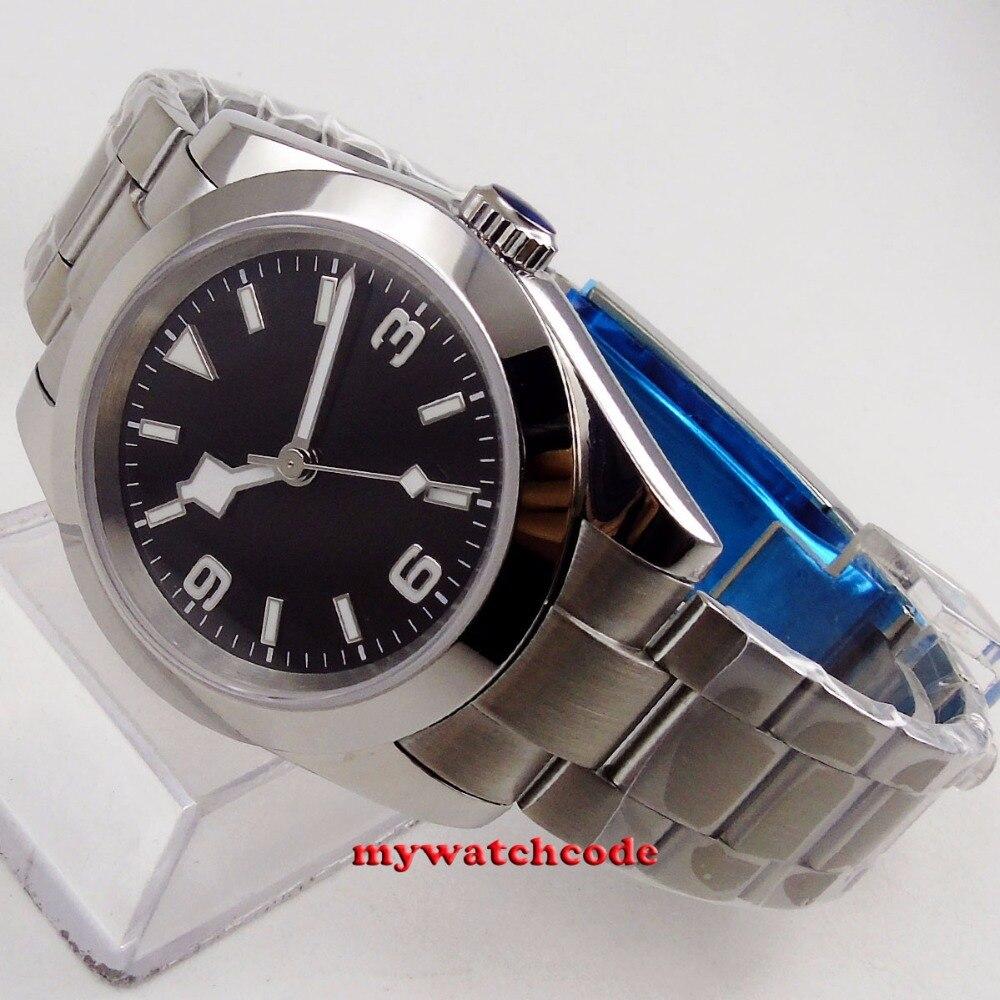 40mm bliger estéril esfera negra nieve escama mano acero Sólido caja zafiro vidrio automático hombres reloj B201 - 3