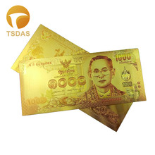 Free Shipping Color Banknote Gold Plated 1000 THB Thailand Gold Banknote for Decoration Gifts