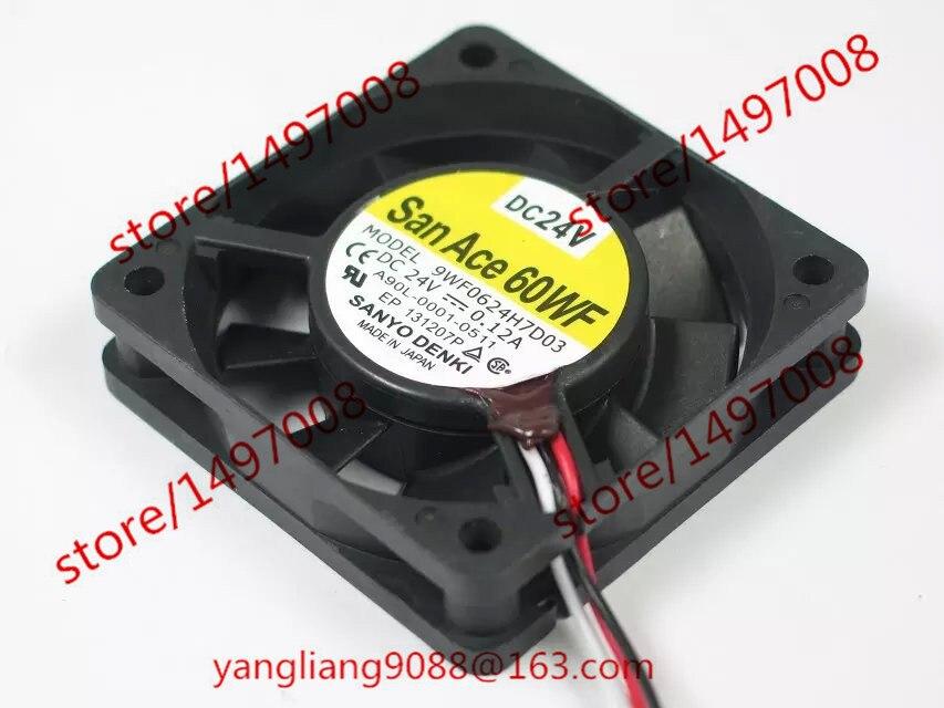 цены на Free Shipping For Sanyo 9WF0624H7D03 DC 24V 0.12A 3-wire 3-pin connector 40mm, 60x60x15mm Server Square fan в интернет-магазинах
