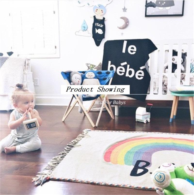 WINLIFE Regenbogen Quasten Weicher Baumwolle Teppiche Baby Krabbeln Matten Dekorative Fr Wohnzimmer Schlafzimmer Nacht