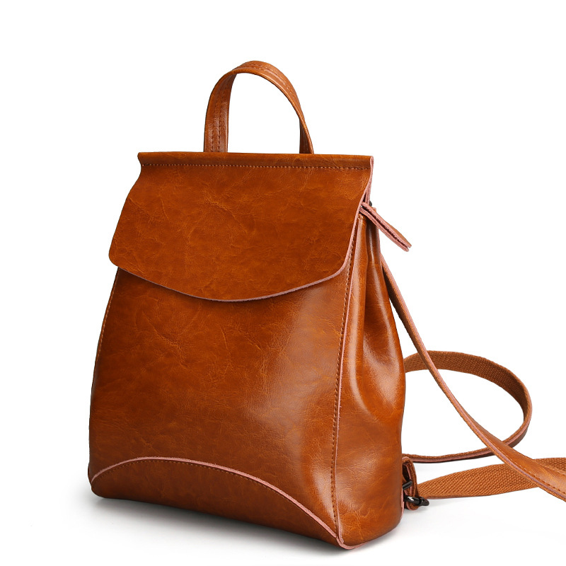 Fashion beautifully beautiful Cow Leather backpack women simple color elegant elegant retro vertical square travel backpacks