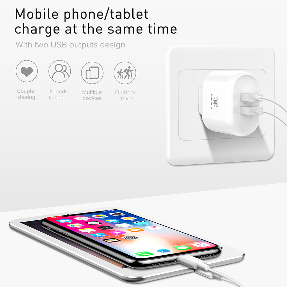 Baseus 18W Quick Charge QC 3.0 USB Charger for Samsung Xiaomi Phone Adapter EU Plug Travel Wall Charger for iPhone Charger 1