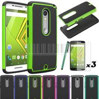 New Dual Layer PC Silicone Armor Shockproof Case Cover With Films Stylus For Motorola Moto X