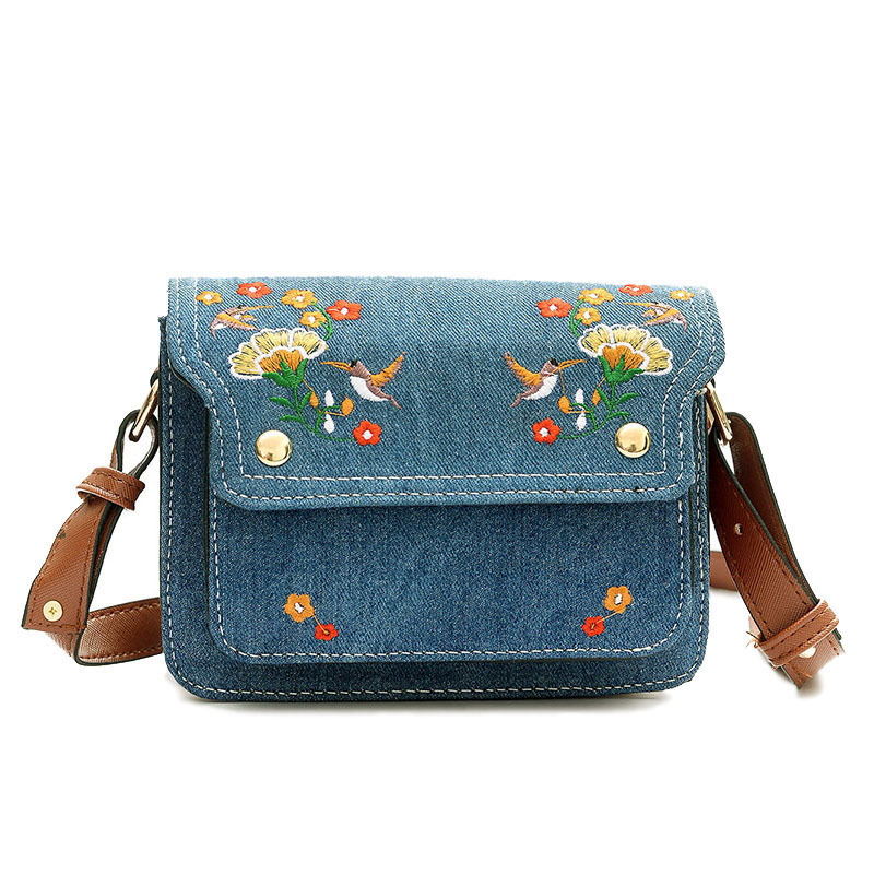 Women Small Hand Bag Flower Embroidery Designer Denim Shoulder Womans Vintage Messenger Lady Crossbody Luxury Women Bags