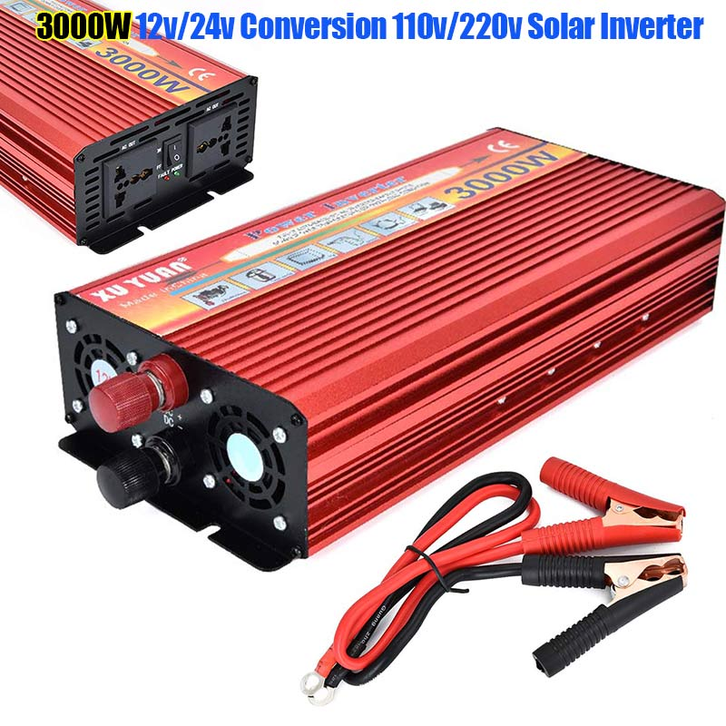Portable 3000W DC 12V/24V to AC 110V/220V Car LED Power Inverter Charger Converter CLH@8 professional 3000w power inverter dc 12v to ac 110v 220v with led indicator light fan cooling universal socket car converter