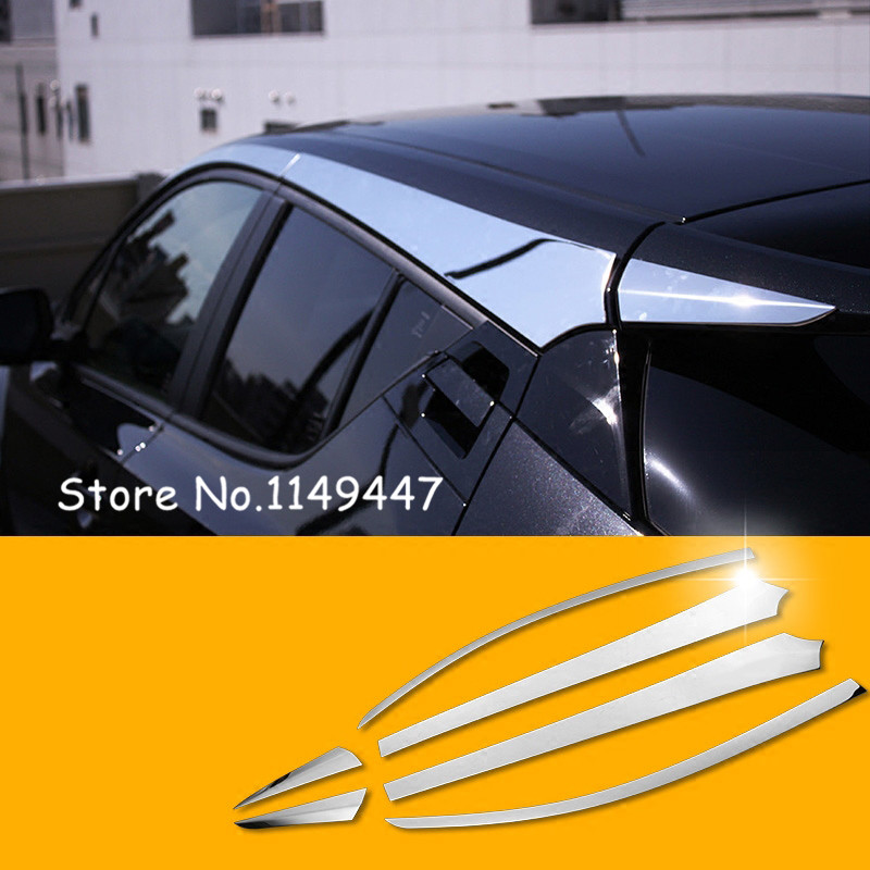 Car styling Accessories Exterior Stainless Steel Chrome Car Top Roof Molding Cover 6pcs For Toyota C HR 2016 2017 2018
