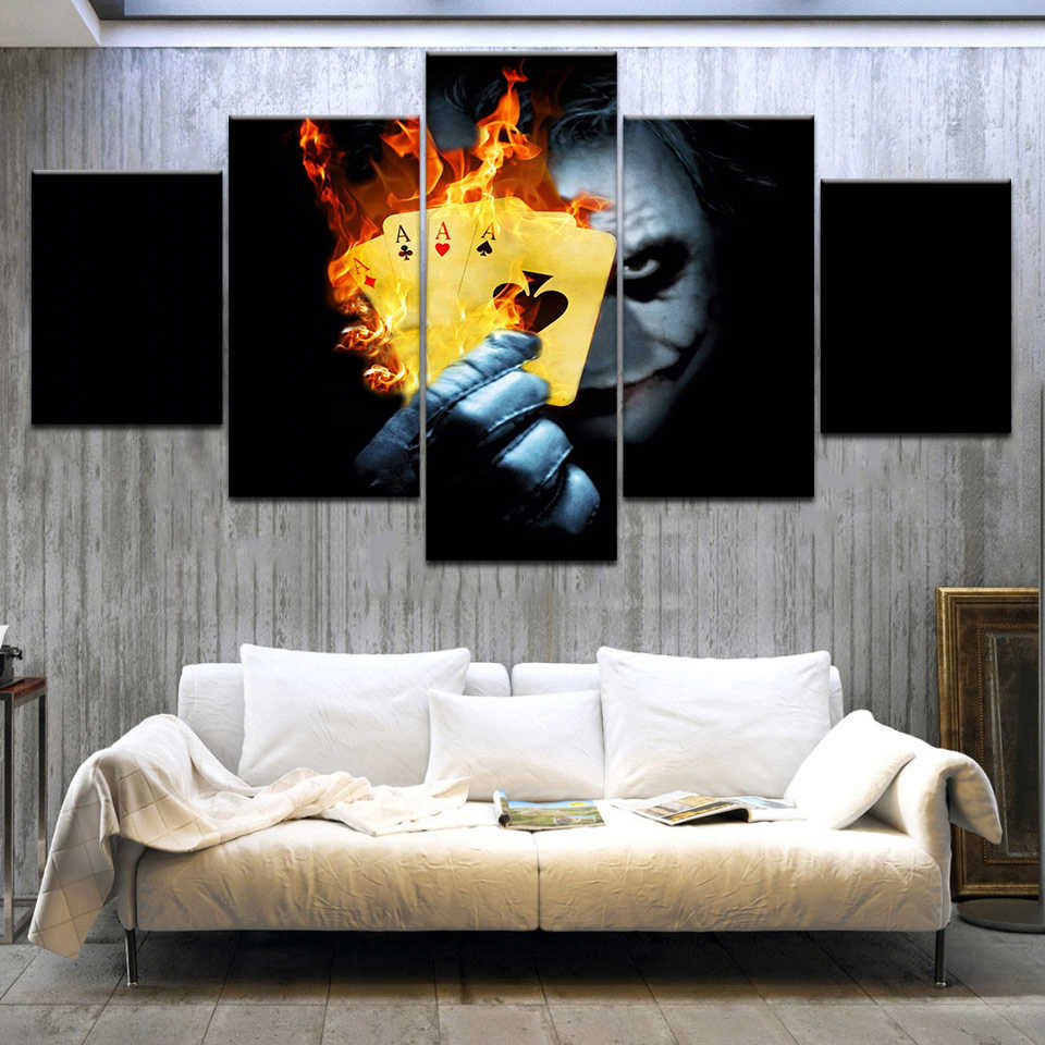 Painting Poster Modular Picture Modern 5 Panel Batman Heath Ledger Movie Joker Canvas Print Art Frame Wall For Living Room Decor