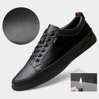 Men Black Leather Shoes Male Casual Genuine Leather Shoes Skateboarding Shoes Outdoor Breathable Sport Shoes Moccasins Sneakers