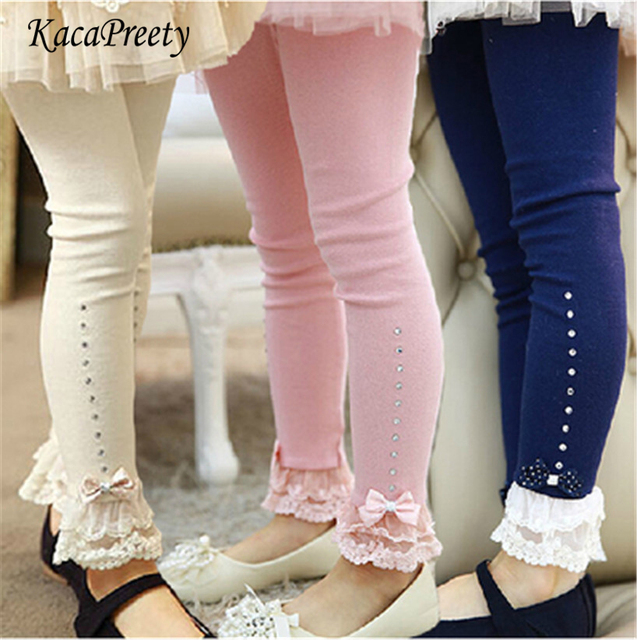 4607bf39b9453 Girls pants autumn lace trim ruffle rhinestone kids legging for girls  trousers cotton toddler leggings children clothes 2-10Yrs