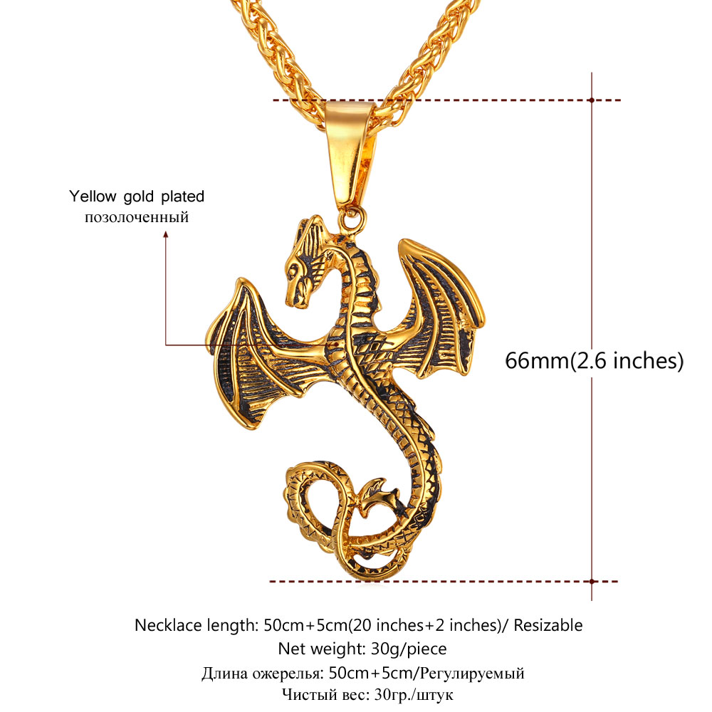 lover goth gift sanlan moon in on necklaces dragon winged from medieval chain item necklace pendant symbolic jewelry animal