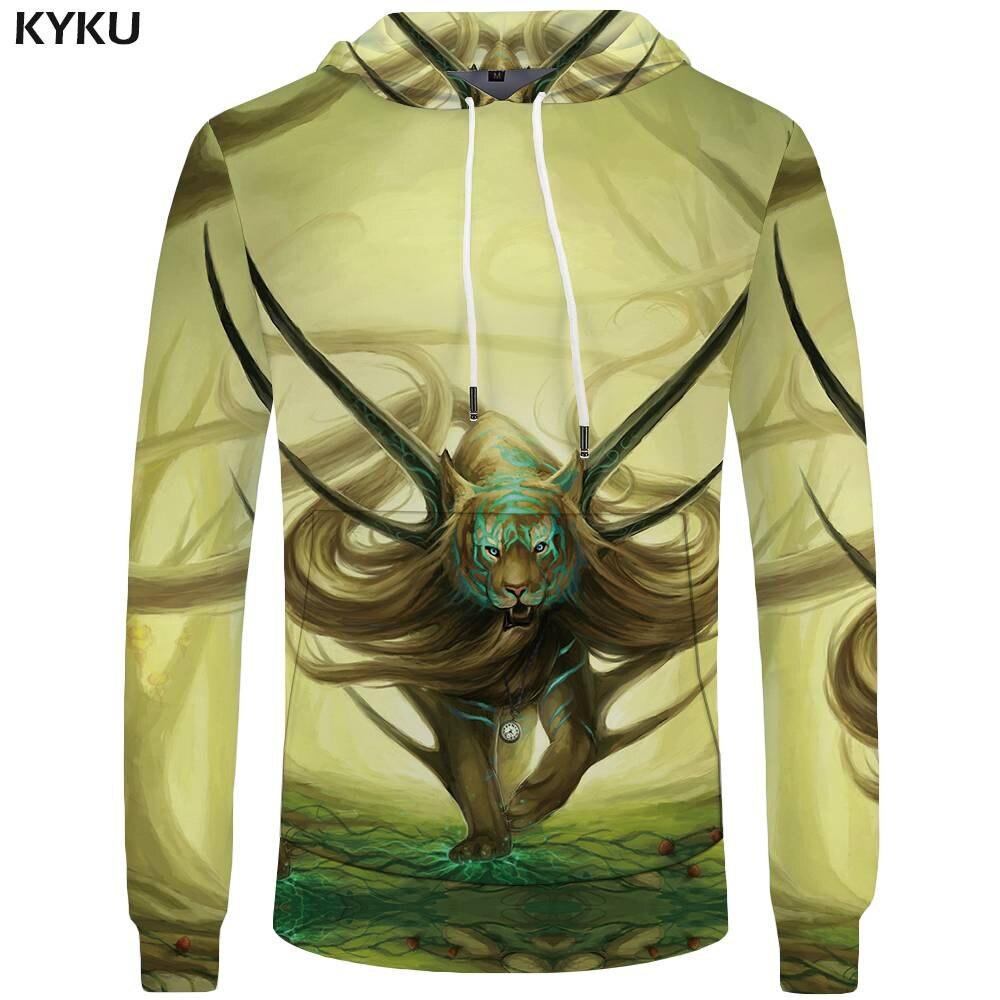 KYKU Brand Tiger Hoodies Men Animal Sweatshirt Immortal Big Size 3d Hoodies Pocket Mens Clothing Hoddie Tracksuit New Casual