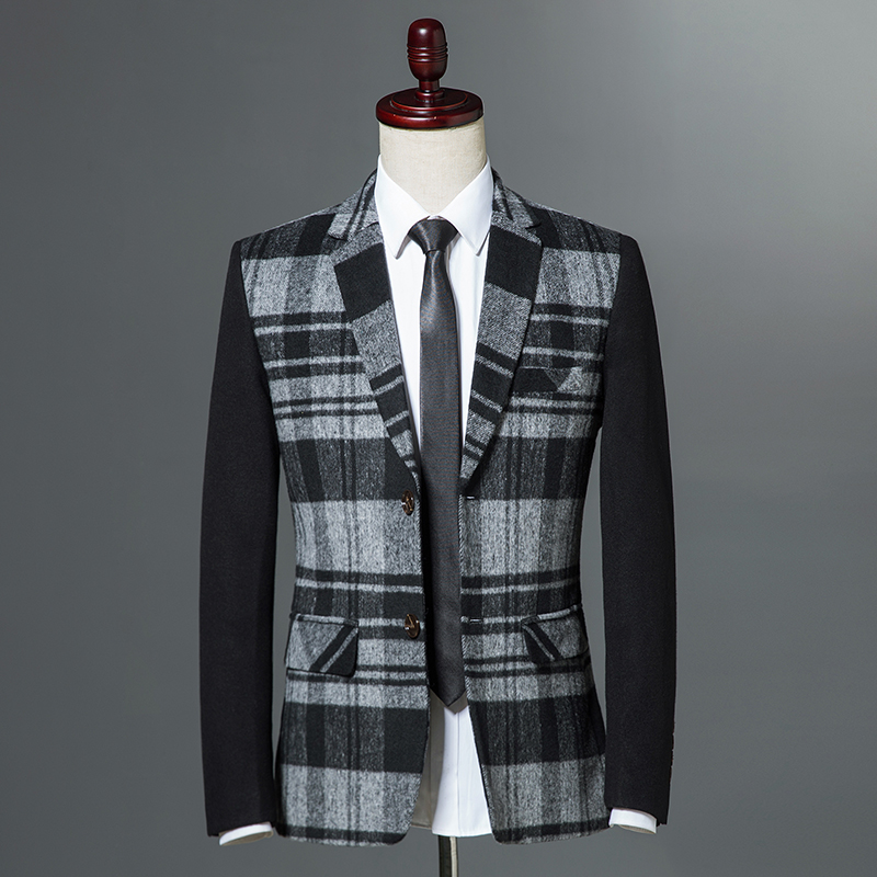 b617ecfa8db 2018 Autumn Winter Classic Men Plaid Blazer Single Button Slim Fit Blue  Vintage Business Casual Jacket ...