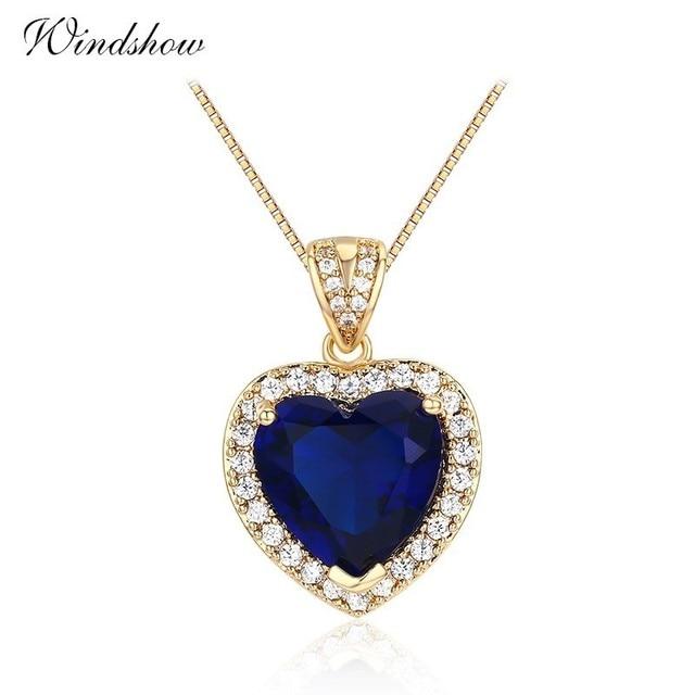 Ocean Heart Peach Dark Blue Cz Accent With Suspension Pingente Pendants Necklace Women Gold Color