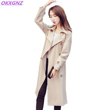 OKXGNZ 2017 Spring New Lady Coat Korean Version Fashion Long Jacket Solid Color Women's Basic Coat Tops Plus Size Costume A206