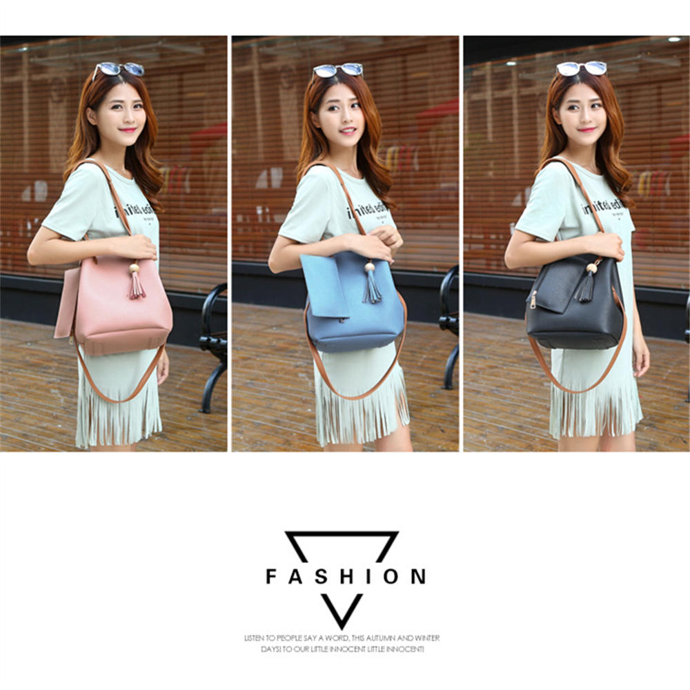 The new 2017 tassel beads bucket bag hand the bill of lading shoulder slope package bag, mummy lash trend the new leather ladies bags fashion trend in hand the bill of lading shoulder bucket bag handbag free postage